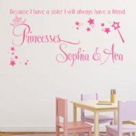 Because I have a Sister I will Always have a Friend Personalised Wall sticker / decal
